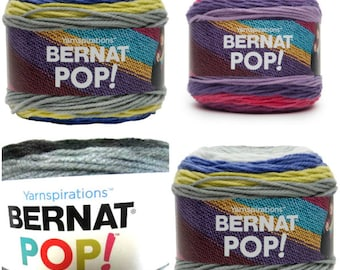 Bernat Pop Yarn Violet Vision - Ebony and Ivory - Planetary - Self Striping Worsted Weight