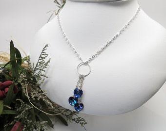 Swarovski Heart Necklace, Heliotrope Crystal Necklace In Sterling Silver, Purple Blue Swarovski Heart Necklace, 16-18 Inches, Valentine Day