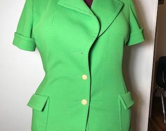Polyester Blazer, green, womens Size 12/14, vintage 1970s