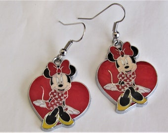 Minnie Mouse in a Red Heart Earring