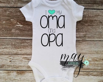 Custom I love My Oma and Opa - Grandparent Bodysuit - Oma and Opa Jumper