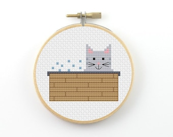 Summer bubble bath cat cross stitch pattern, cat cross stitch, cat pfd pattern, summer cross stitch, bathroom cross stitch