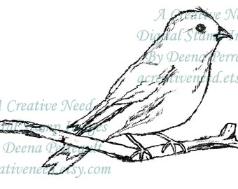 INSTANT DOWNLOAD Digital Stamp Image Feathered Friend, bird, branch.