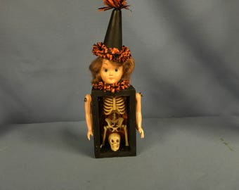 Vintage art doll eclectic Halloween 3-D antique assemblage collage display box