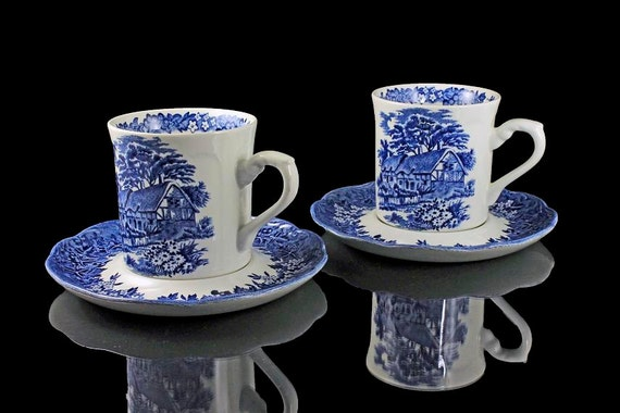 Flat Cups and Saucers, J & G Meakin, Romantic England Blue, High Indent Saucer, Anne Hathaway's Cottage, English Ironstone, Set of 2,