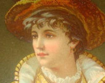 SALE Nice Embossed Victorian Lady Scrap