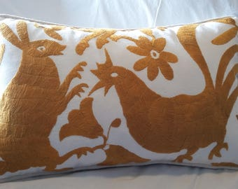 Gold Otomi Folkart Pillow