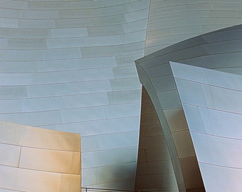 Disney Concert Hall Abstract LA Photo. Los Angeles Photography. Architecture. Black and White. Minimalist Photography Abstract. Blue Silver
