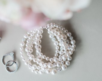 Wedding Jewellery, Chunky Pearl Bracelet, Bridal Wedding Jewellery Bracelet, Statement Pearl Bracelet