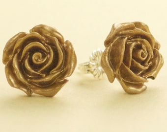 Vintage Metalic Bronze Gold Rose Flower Post Earrings