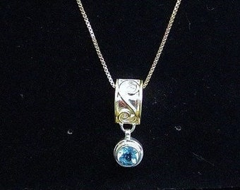 Blue Topaz Gold Vermeil Sterling Silver Necklace