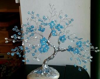 Gemstone tree, bonsai tree gift, gemstone bonsai, crystal tree, wire tree, tree of life, beaded tree, quartz statue, clear quartz tree