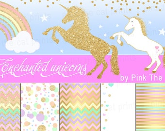 Unicorns And Background Papers Templates Unicorn Clipart Glitter Gold Digital Background Paper Clip Art Rainbow INSTANT DOWNLOAD