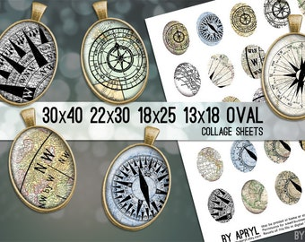 Compass Maps 30x40 22x30 18x25 13x18 Oval Digital Collage Sheet Oval Digital Collage Images for Glass and Resin Pendants Cameos