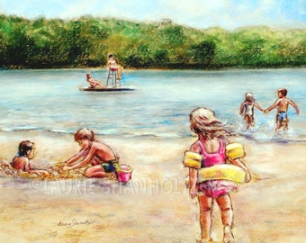 "Beach summer Children playing ""Childhood Days at the Lake""  Laurie Shanholtzer Canvas or Cotton art paper print,"
