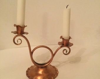 Set of 2   Vintage Gregarian Copper Double Candleholders    1946
