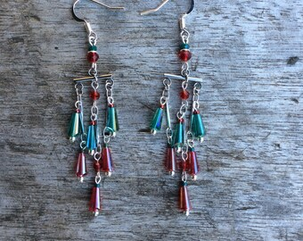 Chandelier crystal earrings, Festive Jewellrey, Red/Green cone shape crystals, light weigth statement earrings
