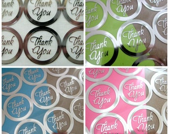 THANK YOU Print Wedding Round Envelope Seal Stickers, Silver Clear Transparent Round Thank You Sticker Seals, 1 inch, 60 or 100 Stickers
