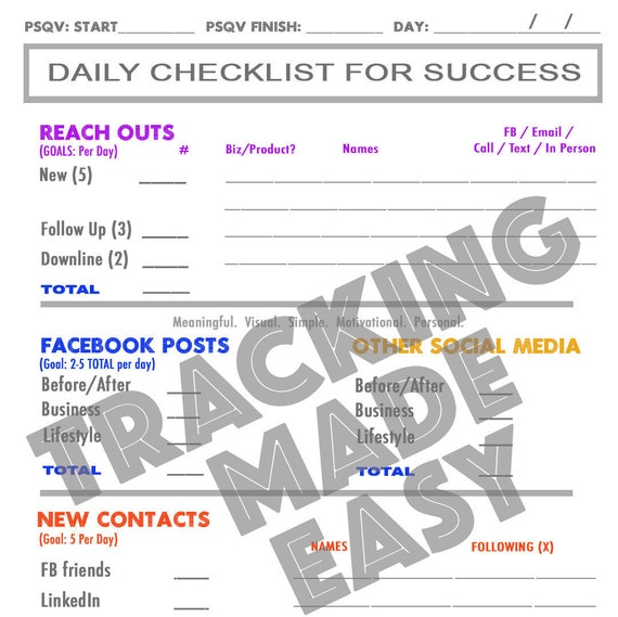 Rodan Fields Daily Checklist For Success