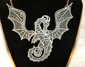 Custom Lace Dragon Pectoral Necklace with Rhinestones