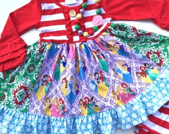 Disney Princess Christmas dress Momi boutique custom dress