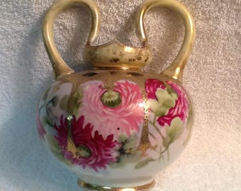 Antique Nippon Vase <> Raised Moriage Gold Accents <> Hand Painted Pink Roses <> Two Handles <> 1890's <> Japanese <> EXCELLENT CONDITION