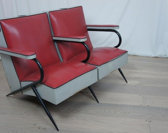 Mid Century Banquette of Hairdresser's Chairs