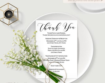 Thank You template, Printable thank you, wedding template, Instant download editable PDF WT116