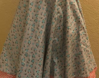 Buttons and Bouquets vintage inspired circle skirt