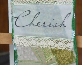 Green Doorknob Hanging Art Quilt - Cherish