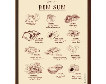 Dim Sum Lovers Gift, Chinese Dim Sum Guide Illustration, Vintage Style, Illustration Art Print, Home Decor, Foodie, Poster, Food Chart