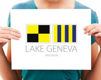Lake Geneva - Wisconsin - Nautical Flag Art Print