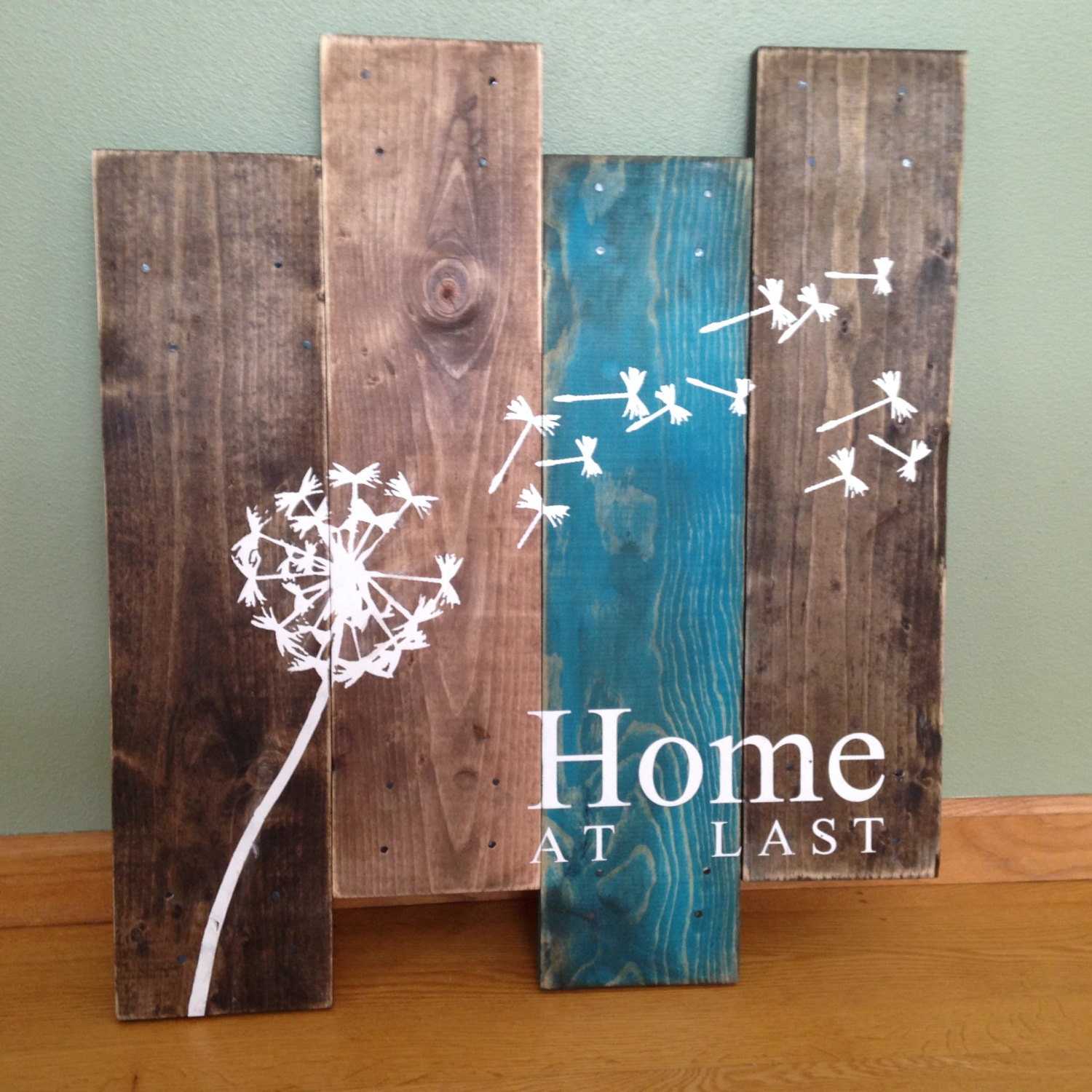 Dandelion Wall Hanging Home At Last Rustic Decor Teal
