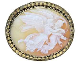 Large 15ct Gold Angel Cameo Brooch