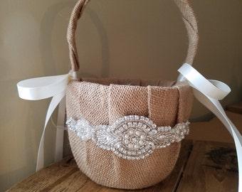 SALE - Wedding Flower Basket & Ring Bearer Pillow Set  - Style BKRP1014BUR