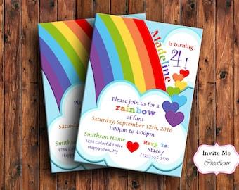 Kids birthday invite etsy rainbow birthday invitation rainbow invitation heart invitation kids birthday invite childrens invitation filmwisefo Images