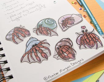 Hermit Crab Stickers, Paper Stickers, Journaling, Sticker Flakes, Cute Crabs, Stationery, Scrapbooking, Ocean Stickers, Beach Pet