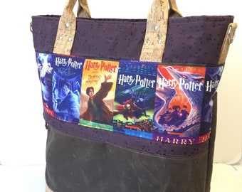 Large sized Waxed Canvas tote with Harry Potter fabric feature on front and cork accents