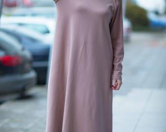 Plus Size Maxi Dress, Extra Long Beige Dress, Beige Cotton dress, Maxi Kaftan, Maxi Beige Dress by EUGfashion - DR0082W2