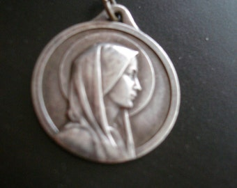 Antique french  religious medal  Madonna /Our Lady of Lourdes  antique french pendant