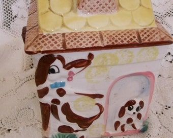 Covered Biscuit Jar Handled with Dogs ABC Japan