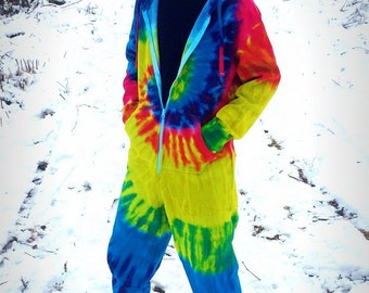 rainbow-tie-dye-batik-jumpsuit-psychedelic-clothing-goa-hoodie-onesie-overall-festival-hippie-monotobi-retro-modern-vintage-colored