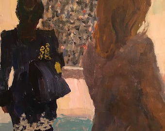 Museum Goers, people looking at art, original acrylic on 14x11 inch gessobord, figurative art, modern impressionist, wall candy