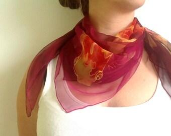 Koi silk scarf, Red violet scarf, Chiffon silk scarf Koi Carps scarf