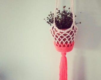 Hanging planter,tassel! Succulents,hanging, crochet plant hanger,neon ,indoor planter