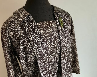 Vintage 50's Two Piece Dress and Jacket in Chevron Animal Print Tropical Style by Flair of Miami