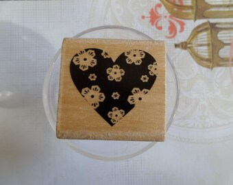 Stamp wood heart-shaped decoration flowers