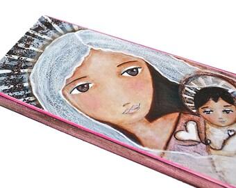 Sharing Hearts  - Wood Block 5 x 10 inches - Folk Art By FLOR LARIOS