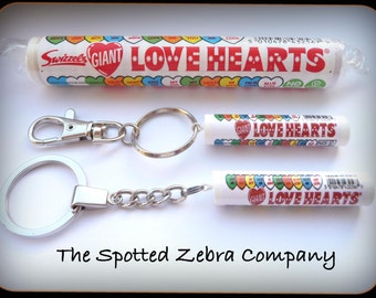 Love Hearts Tube Keyring