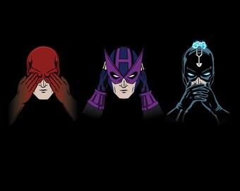 Three Wise Heroes T-shirt / Comics / Daredevil  /  Hawkeye / Black Bolt  / Three Wise Monkeys /   Free Shipping worldwide